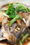 Свежие испаренные все рыбы покрытые с луками и соусом трав стоковые изображения