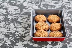 Свежие испеченные печенья на листе печенья, взгляд сверху, конце-вверх, селективном фокусе, малой глубине поля Стоковые Изображения RF