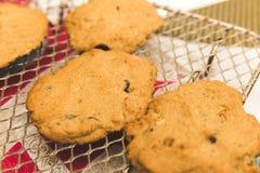 Свежие испеченные печенья обломока шоколада на выпечке кладут на полку Стоковая Фотография