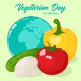 Свежие и вкусные овощи с глобусом для вашего дизайна Предпосылка на день мира вегетарианский в стиле шаржа вектор бесплатная иллюстрация