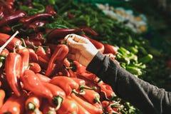 Свежие и органические овощи на рынке хуторянин marketplace Естественная продукция паприка Перец Естественные местные продукты дал стоковое фото rf
