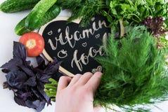 Свежие и сырцовые овощи и Еда витамина Стоковые Изображения