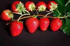 Свежие красные клубники на черной предпосылке Стоковая Фотография RF