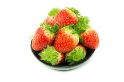 Свежие красные клубники в белой предпосылке Стоковая Фотография