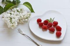 Свежие красные поленики на блюде формы сердца с белыми цветками сирени и вилка на белой предпосылке деревянного стола Стоковая Фотография