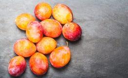 Свежие красные сливы вишни на серой текстурированной каменной предпосылке с Стоковые Фото