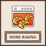 Свежие круассаны на предпосылке печи Домашняя выпечка иллюстрация вектора