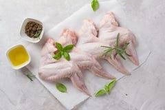 Свежие крыла цыпленка с специями стоковое фото rf