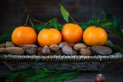 Свежие Клементины или Tangerines в корзине Стоковые Изображения