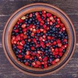 Свежие клубники и голубики, одичалая ягода стоковые изображения