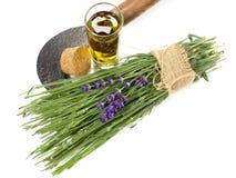 Свежие лаванда и масло - здоровое питание стоковые фото