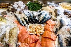 Свежие морепродукты показанные на льде стоковое изображение
