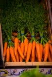 Свежие моркови в рынке Стоковые Изображения RF