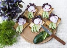 Свежие овощи, вегетарианские сандвичи с огурцом и редиска Стоковое Изображение RF