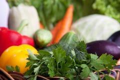 Свежие овощи в корзине на белизне. Стоковые Фото