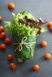 Свежие овощи в обруче лист банана Стоковое Изображение