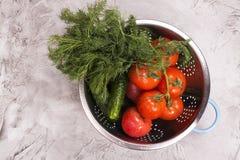 Свежие овощи в стрейнере Стоковые Изображения RF