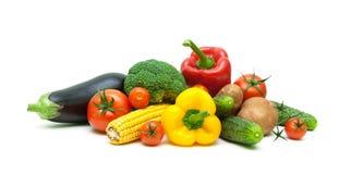 Свежие овощи изолированные на белом конце предпосылки вверх Стоковая Фотография