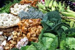Свежие овощи и травы на рынке глохнут Стоковые Фотографии RF