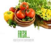 Свежие овощи на белой предпосылке Стоковые Изображения