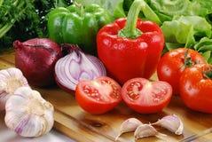 Свежие овощи на технологическом комплекте Стоковая Фотография