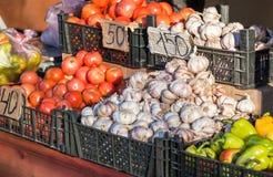 Свежие овощи подготавливают для продажи Стоковое Изображение