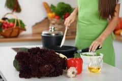 Свежие овощи, салат и постное масло на предпосылке женщины варят плитой в кухне Стоковые Изображения