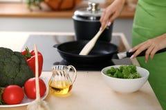 Свежие овощи, салат и постное масло на предпосылке женщины варят плитой в кухне Стоковое фото RF
