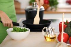 Свежие овощи, салат и постное масло на предпосылке женщины варят плитой в кухне Стоковые Фотографии RF