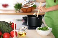 Свежие овощи, салат и постное масло на предпосылке женщины варят плитой в кухне Стоковая Фотография
