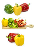 Свежие овощи 3 сладостных красных, желтых, зеленых перца изолированного на белизне Стоковое Фото