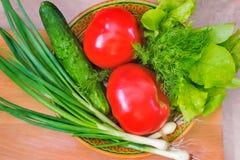 Свежие овощи: томаты, огурцы, луки, салат Стоковое фото RF