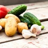 Свежие овощи - томаты, редиски, зеленые луки, огурцы Стоковое Изображение