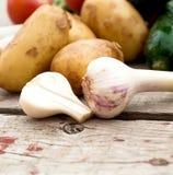 Свежие овощи - томаты, редиски, зеленые луки, огурцы Стоковое Фото