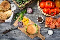 Свежие овощи для домодельного гамбургера Стоковое фото RF