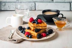 Свежие домодельные waffles Брюсселя Стоковая Фотография RF