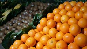 Свежие органические апельсины плодоовощей, киви, бананы на дисплее в рынке фермеров Стоковые Фото