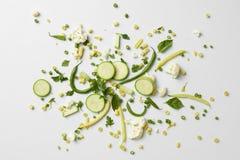 Свежие органические зеленые овощи и плодоовощи Стоковая Фотография