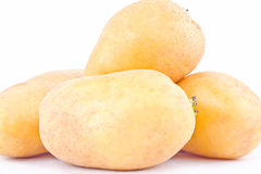 свежие органические клубни картошек на изолированной еде белой картошки предпосылки здоровой Vegetable Стоковые Изображения RF