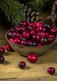 Свежие органические клюквы для рождества Стоковая Фотография