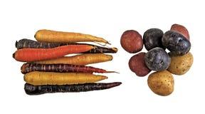 Свежие органические моркови и картошки на белой предпосылке Стоковое Фото