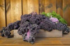 Свежие органические овощи рынка на деревянной предпосылке Стоковые Изображения RF