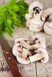 Свежие отрезанные champignons с петрушкой и старым ножом Стоковое фото RF