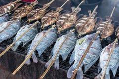 свежие очень вкусные зажаренные рыбы, тилапия Стоковое Изображение
