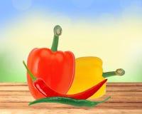 Свежие перцы желтого и красного перца паприки и горячих чилей Стоковые Изображения RF