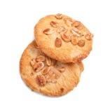 Свежие печенья овсяной каши, изолированные на белой предпосылке помадка 2 печений Печенья хлопьев Круглые печенья Продукты хлеба Стоковая Фотография RF
