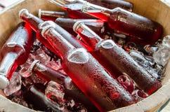 Свежие пить бутылки с льдом стоковая фотография rf