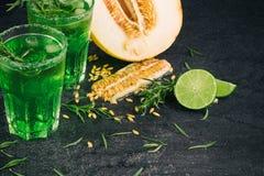 Свежие плодоовощи лета Естественные, органические, здоровые зеленые соки Отрежьте дыню, сочную известку и пряный астрагон на черн Стоковые Изображения RF