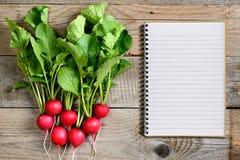 Свежие редиска и книга рецепта Стоковые Изображения