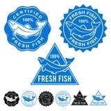 Свежие рыбы аттестовали комплект значка уплотнений Стоковые Фотографии RF